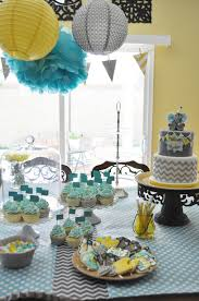 yellow and grey baby shower decorations chevron and polka dot baby shower yellow baby showers aqua and gray