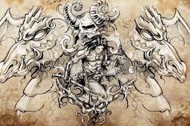 ancient warrior tattoo sketch handmade design over vintage paper