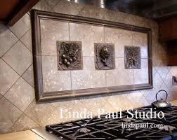 Vegetable Metal Tile Backsplash With Radishes Artichoke And Bunch - Metal tiles backsplash