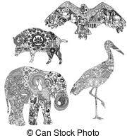 vector clipart of animals in ethnic ornaments four different
