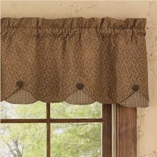Valance And Curtains Country Straight Valance Curtains Shades Of Brown Lined Scallop