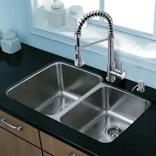 Vigo Stainless Steel Faucet Vigo 32 Inch Undermount 60 40 Double Bowl 18 Gauge Stainless Steel