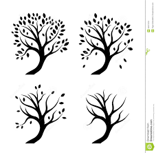 vector silhouettes of trees in seasons royalty free stock photos