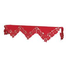 mantel scarf the aisle festive poinsettia polyviscose mantel