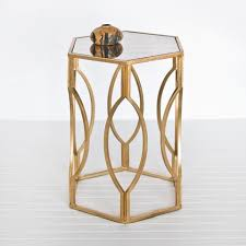 Contemporary Accent Table Decoration In Gold Accent Table Hexagon Side Table In Gold Leaf