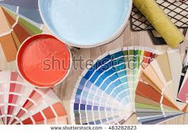 blue paint can samples different shades stock photo 463282829
