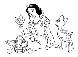 disney princess snow white with animals coloring page for kids
