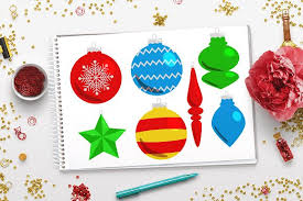 40 christmas ornaments clipart illustrations creative market