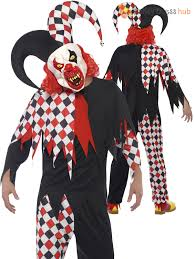 mens killer clown jester costume mask halloween circus evil