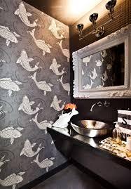 gray koi fish wallpaper in the powder room usual house powder