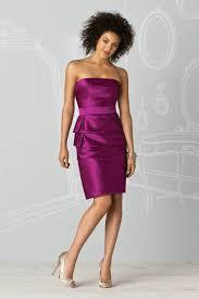 custom made tiered peplum satin purple designer short bridesmaid