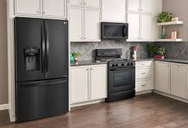kitchen design white cabinets black appliances why you ll lg matte black kitchen appliances black
