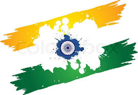 indian tri color national flag in orange or saffron white and