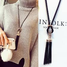 long necklace with tassel images 2016 new arrival female pendant necklace tassel long winter jpg