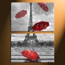 Eiffel Tower Home Decor 2 Piece Black And White Umbrella Wall Art