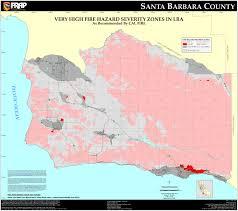 California Zip Code by Cal Fire Santa Barbara County Fhsz Map