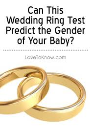 wedding ring test the wedding ring gender test is an method for predicting the