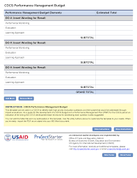 Basic Budget Spreadsheet by Performance Management Budget Template Project Starter U2014 Usaid