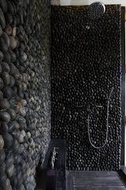 river rock bathroom ideas shower walls covered in rocks for an outside shower stuff