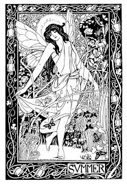 wiccan coloring pages vintage summer lady printable and great