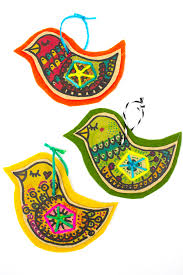 charming cardboard and felt bird ornaments template included