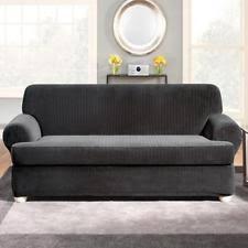 3 piece t cushion sofa slipcover surefit taupe stretch pique 3 piece t cushion sofa cover slipcover