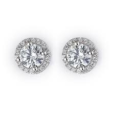 earring stud cz halo stud earrings in rhodium plated sterling silver