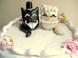 cat wedding cake topper polymer clay cake topper