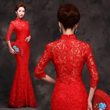 mandarin collar 3 quarter sleeve red lace chinese wedding dress