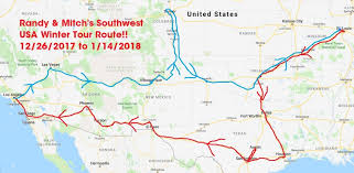 map usa southwest randy mitch s southwest usa winter tour schedule