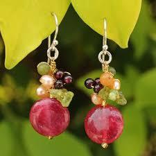 thailand earrings handmade sterling silver thai multi gemstone freshwater pearl
