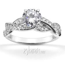 infinity wedding rings infinity shank pave set diamond engagement ring 0 54ct tw