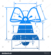 Decoration Of Christmas Bell by Christmas Bell Dimension Lines Element Blueprint Stock Vector