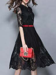 fashion stand collar single breasted lace embroidered half sleeve
