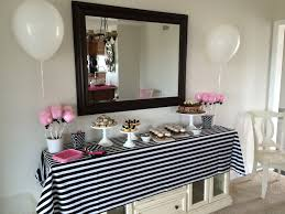 pink black and white baby shower meringue bake shop