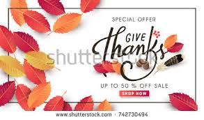calligraphy thanksgiving day sale banner seasonal stock vector