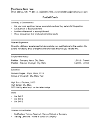 Resume For Football Coach Football Coach Resume Resume Ideas