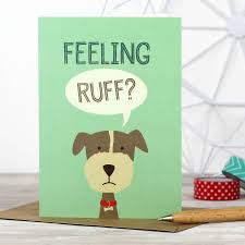 get better soon gift ideas feeling ruff dog get well soon card by wink design