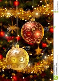 baubles hanging on tree royalty free stock