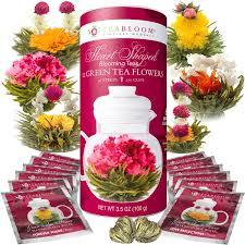 e flowers heart shaped blooming tea flowering tea teabloom