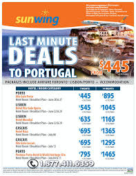 sunwing vacations last minute deals to portugal toronto