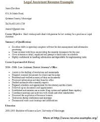 Legal Secretary Resume Sample Legal Assistant Resume For More And Various Legal Resumes