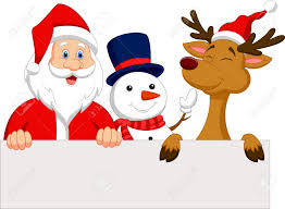 santa claus santa claus reindeer and snowman with blank sign royalty