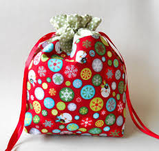 handmade by eva rose holiday season drawstring gift bag