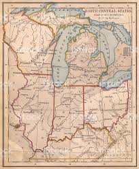 Bloomington Illinois Map by Old Color Map Of North Central States From 1800s Stock Photo