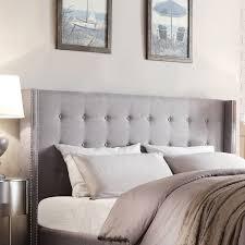 grey wingback headboard nailhead tufted bedroom velvet bed designs