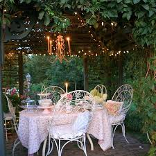 shabby chic terrace and patio decor idea with pink and white