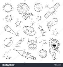 royalty free cartoon outer space set coloring book 113148928