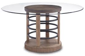 Industrial Style Dining Room Tables by Round Glass Pedestal Dining Table Industrial Compact Industrial