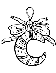 crescent moon christmas ornament coloring free printable